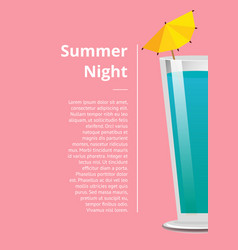 Summer night cocktail party promo poster with vector