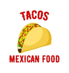 Tacos mexican fast food isolated icon vector
