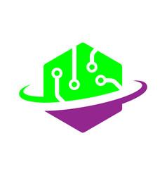 Tech logo digital world concept eps vector