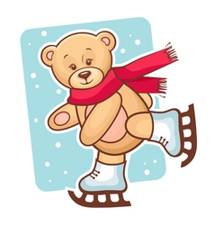 teddy bear skating vector image