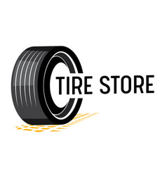 tire store banner with car tyre tread track and vector image