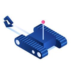 Toy rc excavator icon isometric style vector
