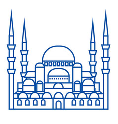 Turkish mosque line icon concept turkish mosque vector