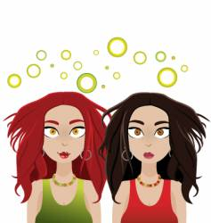 Two dazed and dizzy girls vector