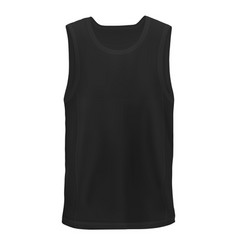 unn mock-up black mans sleeveless shirt front hip vector image