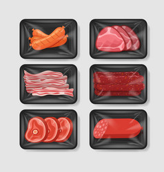 various meat products in plastic tray container vector image