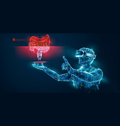 vr wireframe headset man with intestine vector image