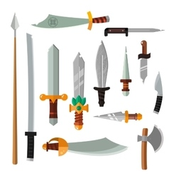 Weapon collection swords knifes axe spear with vector