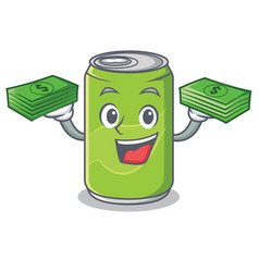With money soft drink character cartoon vector