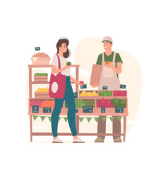 Woman buying groceries from man on market vector