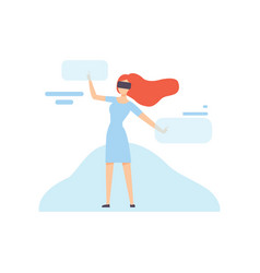 woman in vr goggle headset chatting in internet vector image