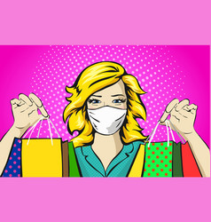 woman with medical mask shopping concept pop art vector image