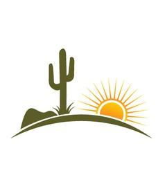 Desert design elements with sun vector image