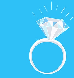 Engagement Diamond Ring with Sparkles on Blue vector image vector image