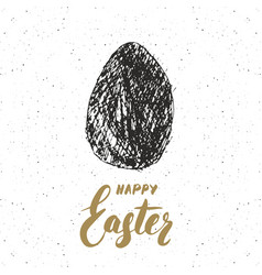 Happy easter hand drawn greeting card with vector