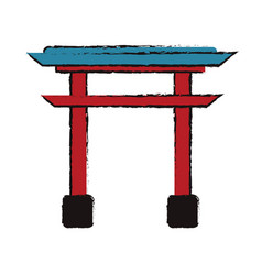 japanese gate structure traditional vector image vector image