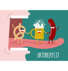 Man eating pretzel beer and sausage Traditional vector image vector image