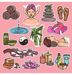 Spa sketch icons color vector image