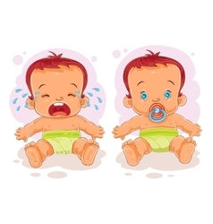 two baby in diapers vector image
