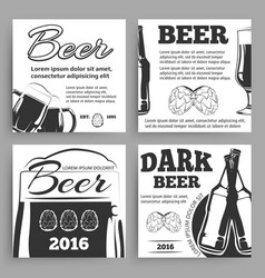 vintage beer banners template with bottles vector image