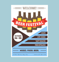 beer festival invitation card or party poster vector image vector image