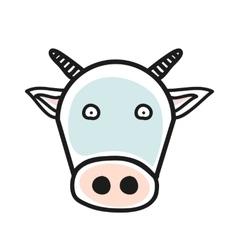 Cartoon animal head icon cow face avatar for vector