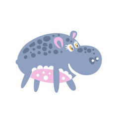cute smiling cartoon hippo character posing vector image vector image