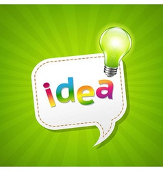 Green Sunburst Poster And Speech Bubble And Lamp vector image