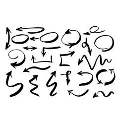 handdrawn arrows set drawn by brush vector image