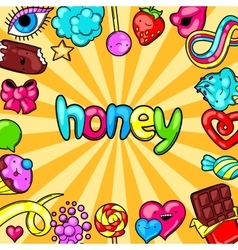 Kawaii background with sweets and candies Crazy vector image vector image