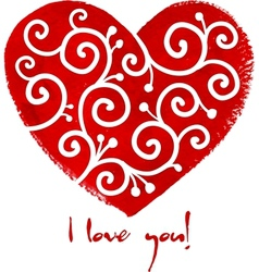 Red painted heart with white ornament vector image vector image