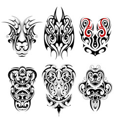 tribal tattoo set with various ethnic styles vector image vector image