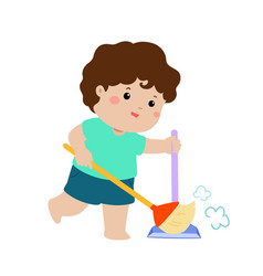Cute boy sweeping the dust on a white background vector