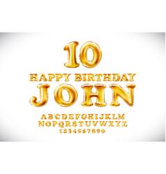 happy birthday john metallic gold balloons vector image vector image