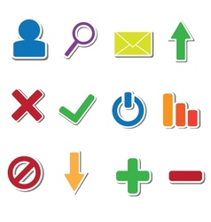 Set of 12 web sticker icons vector image vector image