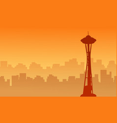 silhouette of seattle space needle tower scenery vector image