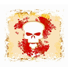 skull and grunge background vector image