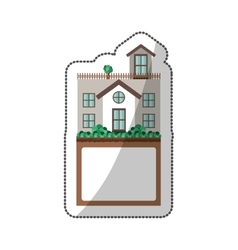 sticker of house with terrace and label vector image vector image