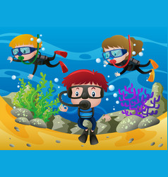 three kids diving under the ocean vector image vector image