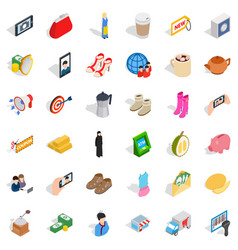 woman icons set isometric style vector image