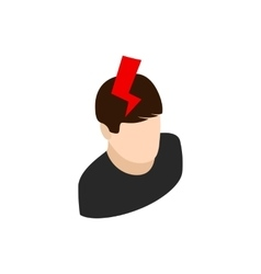 Head with lightning icon isometric 3d style vector image vector image