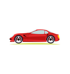red modern fast sports car on white background vector image