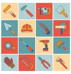 Repair construction tools flat line vector image vector image