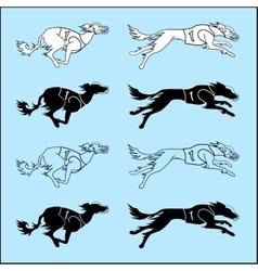 Set of silhouettes running dog saluki breed vector image