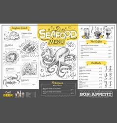 vintage seafood menu design restaurant menu vector image vector image