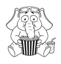 watching movie in 3d glasses eating popcorn vector image vector image