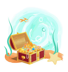 ancient royal treasures in old chest at sea bottom vector image