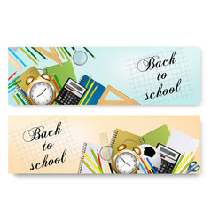 Back to school banners with supplies tool layered vector