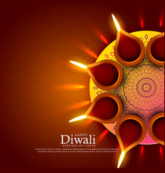 Beautiful diwali festival diya greeting vector