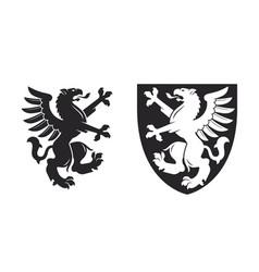 black heraldic rampant griffin vector image